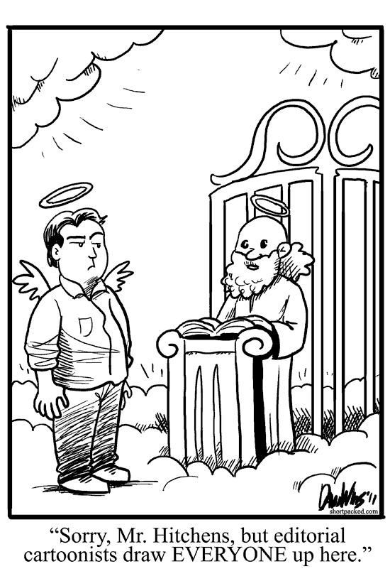 Shortpacked webcomic: Christopher Hitchens at Pearly Gates