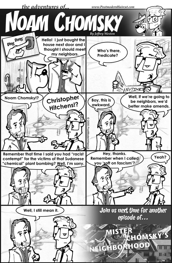 The Adventures of Noam Chomsky comics: New neighbor is Christopher Hitchens